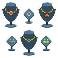conjunto de jóias isolado no fundo branco vetor