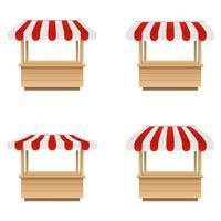 conjunto de tenda do mercado vazio isolado no fundo branco vetor