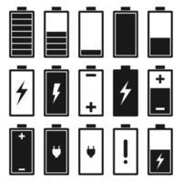 conjunto de ícones plana de bateria isolado no fundo branco vetor