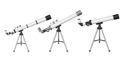 telescópio no fundo branco vetor