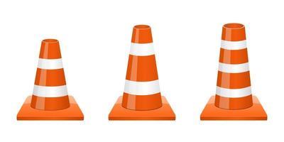 cone de segurança de tráfego isolado no fundo branco vetor