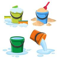 balde com água e areia, isolado no fundo branco vetor