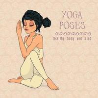 mão desenhada mulher em pose de ioga vetor