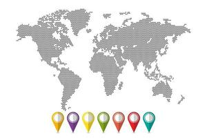 mapa-múndi pixelizada com conjunto de pinos vetor