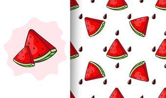 padrão sem emenda de melancia e sementes vetor