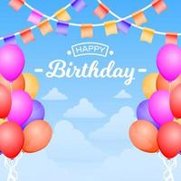 cartão de feliz aniversário com balões e bandeira bunting vetor