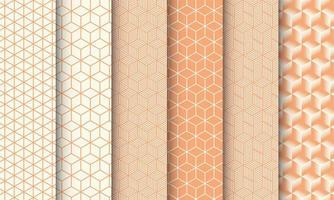 conjunto de padrão sem emenda de cubo laranja vetor