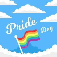 cartão do dia do orgulho com bandeira nas nuvens