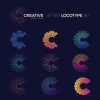 conjunto de logotipos de letra c de ponto e linha coloridos