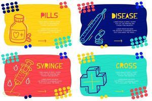 conjunto de páginas de aterrissagem médica estilo doodle