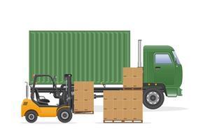 entrega de caminhão de carga verde com empilhadeira vetor