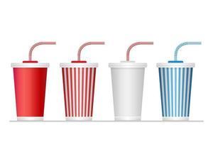 conjunto de copo de refrigerante de papel vetor