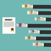 mãos de homem, pagando contrato com euros vetor