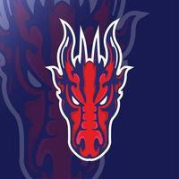 mascote cabeça de dragão vermelho vetor