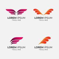 conjunto de logotipo de negócios de estilo de asa vetor