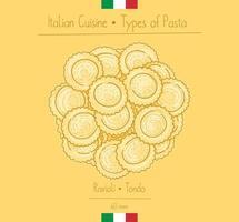massas italianas ravioli circular de comida vetor
