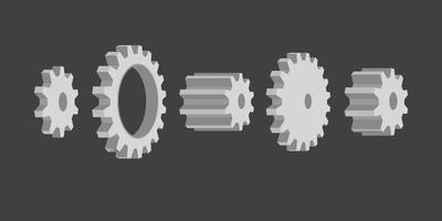 conjunto de rodas de engrenagem cinza vetor