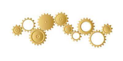 conjunto de rodas de engrenagem de ouro vetor