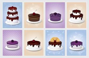 conjunto de cartão de bolo delicioso vetor