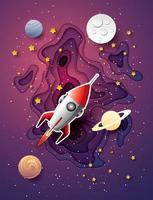 lançamento de foguete espacial e galáxia em estilo de arte de papel vetor