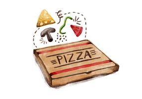 Vector de acuarela de dia de pizza nacional gratuito