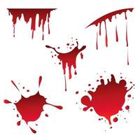 conjunto de vários respingos de sangue em branco vetor