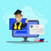 graduação virtual da faculdade com certificado vetor
