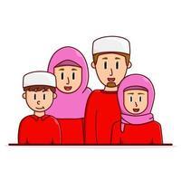 feliz família muçulmana vetor