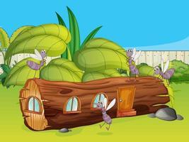 mosquitos e uma casa de madeira em uma bela natureza vetor