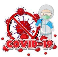 cancelando o tema do coronavírus com o médico em traje de proteção vetor