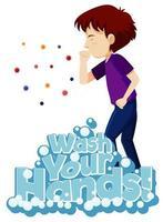 cartaz de tosse para incentivar a lavagem das mãos vetor