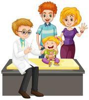 médico e menina fazendo check-up criança doente vetor