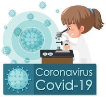 médico olhando para célula de vírus vetor