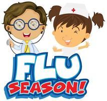 temporada de gripe com enfermeira e médico vetor