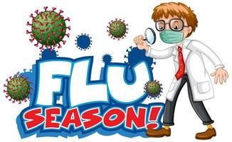 temporada de gripe com médico e célula de vírus