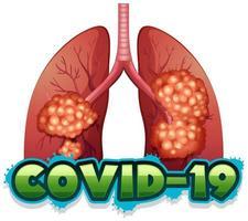 tema do coronavírus com pulmões não saudáveis vetor