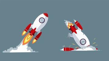 foguete de partida decolando e batendo