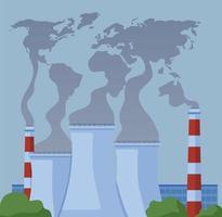 tecido industrial com fumaça densa