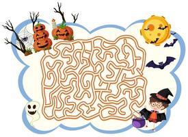 jogo de labirinto do dia das bruxas vetor