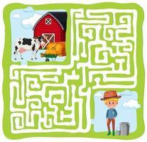 jogo de labirinto de fazenda vetor