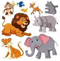 um conjunto de animais selvagens vetor