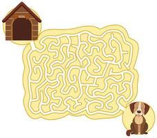 modelo de jogo de quebra-cabeça labirinto cão vetor