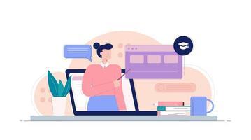 laptop com professora apontando para infográfico vetor