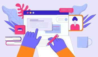 mãos fazendo anotações durante o curso on-line vetor