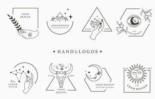 coleção de logotipo com as mãos em quadros geométricos