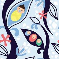 crianças embrulhadas em fralda rodeada por ramos abstratos vetor