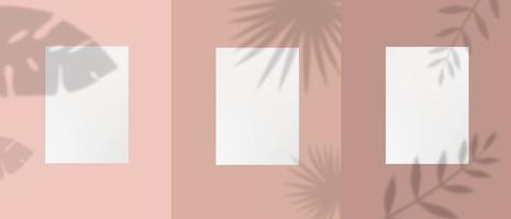 conjunto de modelo de papel a4 branco com plantas vetor