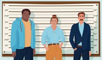 grupo de suspeitos de crimes em pé na fila da polícia vetor