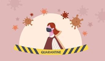 mulher vestindo máscara médica rodeada por vírus