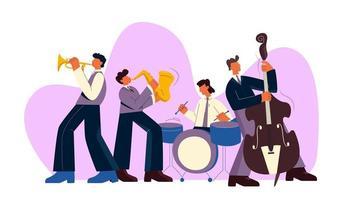 banda de jazz tocando música vetor